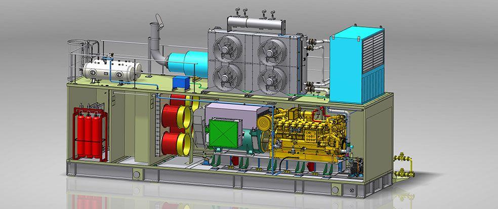 Standby diesel generator package gas engine