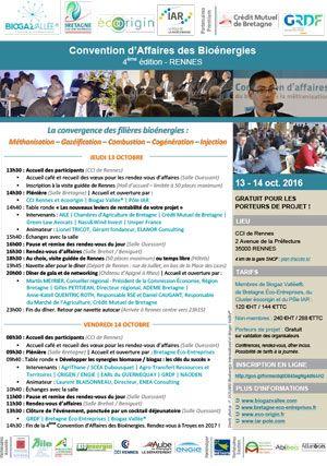 Programme de la convention d'affaires - Biogaz Vallée
